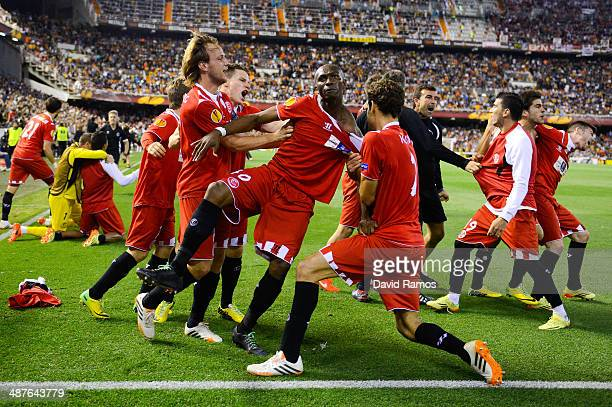 Stephane Mbia of Sevilla FC celebrates after scoring his team's first goal during the UEFA Europa League Semi Final second leg match between Valencia...