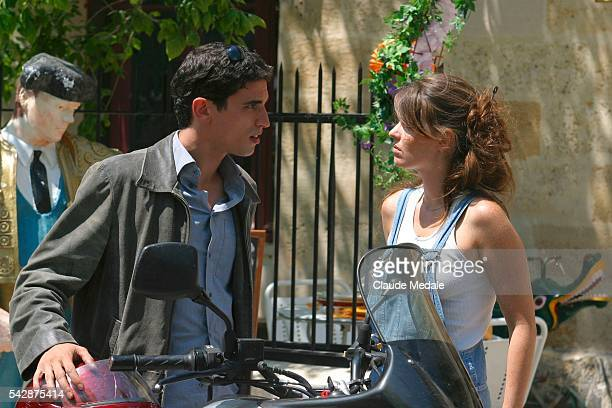 Stephane Metzger and Gwendoline Hamon film a scene on the set of the TV movie 'Julia Ferenzi une Amie en Or' directed by Eric Woreth   Location Port...