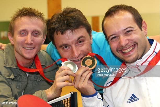Stephane MOLLIENS / Maxime THOMAS medailles d'argent et de bronze aux Jeux Paralympiques de Pekin 2008 Tennis de Table Pont a Mousson
