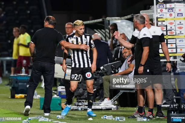Stephane Moulin Headcoach of Angers and Farid El Melali of Angers during the Top 14 match between Angers and Metz on August 24 2019 in Angers France