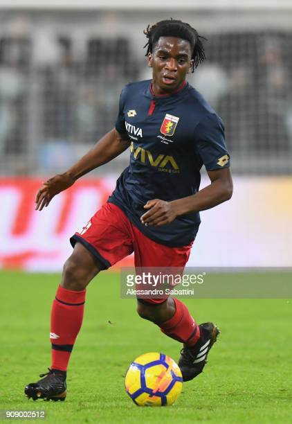 Stephane Omeonga of Genoa CFC in action during the Serie A match between Juventus and Genoa CFC on January 22 2018 in Turin Italy