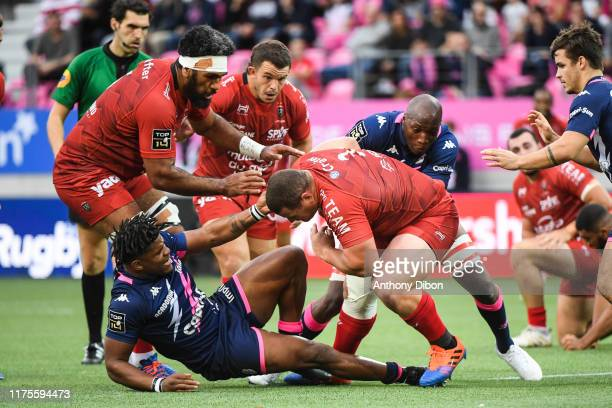 Stephane ONAMBELE MBARGA of Toulon Jonathan DANTY of Stade Francais Mario Wilco LOUW of Toulon and Sekou MACALOU of Stade Francais during the Top 14...