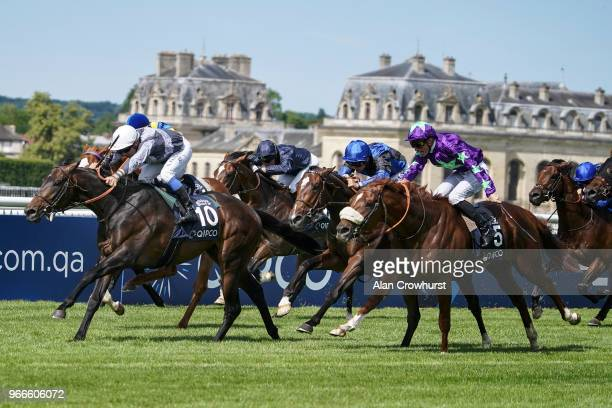 Stephane Pasquier riding Study Of Man win The Qipco Prix de Jockey Club during the Prix du Jockey Club meeting at Hippodrome de Chantilly on June 3...