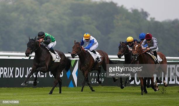 Stephane Pasquier riding The Juliet Rose win The Prix de Royaumont at Chantilly racecourse on June 5, 2016 in Chantilly, France.