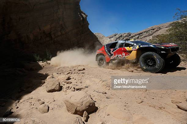 Stephane Peterhansel of France and Paul Jean Cottret of France in the PEUGEOT 2008 DKR for TEAM PEUGEOT TOTAL SOUTH AFRICA compete on day 12 / stage...