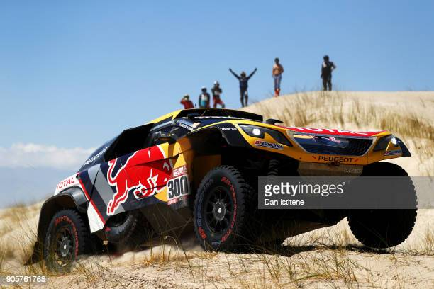 Stephane Peterhansel of France and Peugeot Total drives with co-driver Jean Paul Cottret of France in the 3008 DKR Peugeot car in the Classe : T1.4 2...