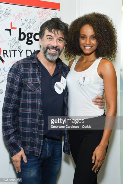 Stephane Plaza and Alicia Aylies attend the Aurel BGC Charity Benefit Day 2018 on September 11 2018 in Paris France