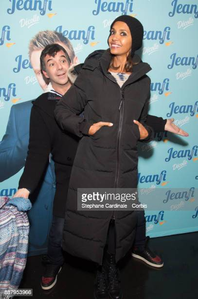 Stephane Plaza and Karine Le Marchand attend the show of Jeanfi Janssens at L'Alhambra on December 7 2017 in Paris France