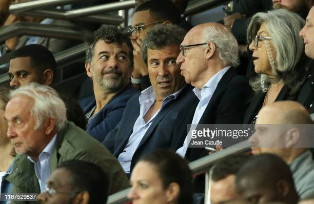 Stephane Plaza Omar da Fonseca Carlos Bianchi attend the French Ligue 1 match between Paris SaintGermain and Nimes Olympique at Parc des Princes...