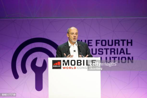 Stephane Richard, chief executive officer of Orange SA, gestures while speaking on the second day of Mobile World Congress in Barcelona, Spain, on...