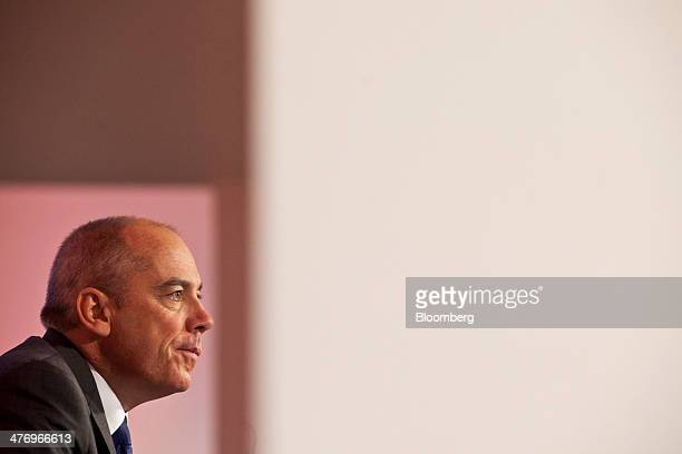 Stephane Richard chief executive officer of Orange SA pauses during a news conference to announce the company's earnings in Paris France on Thursday...