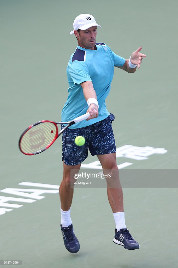 Stephane Robert of France returns a shot during the match against Taylor Fritz of the United States on Day 2 of the ATP Shanghai Rolex Masters 2016 at Qi Zhong Tennis Centre on October 10, 2016 in Shanghai, China.