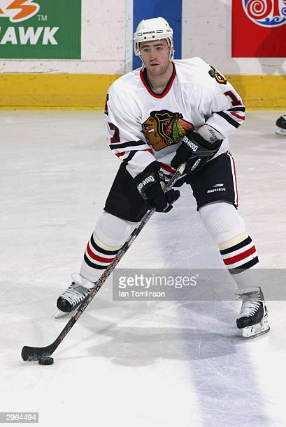 Stephane Robidas of the Chicago Blackhawks stickandles during warm up prior to taking on the Calgary Flames at the Pengrowth Saddledome on November...