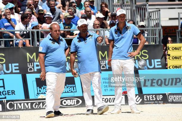 Stephane Robineau and Henri Lacroix and Dylan Rocher competes during the Masters of Petanque 2017 on July 13 2017 in RomanssurIsere France