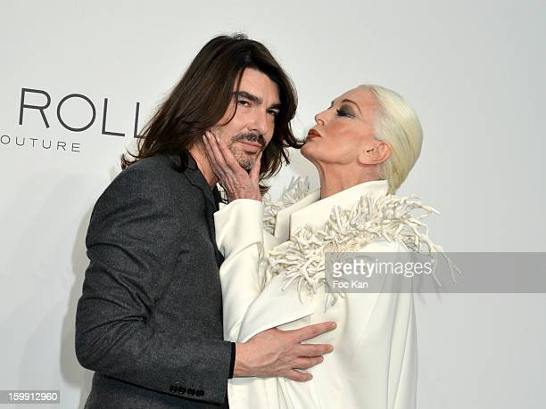 Stephane Rolland and Carmen Dell'Orefice attend the Stephane Rolland Spring/Summer 2013 Haute-Couture show as part of Paris Fashion Week at Palais De...