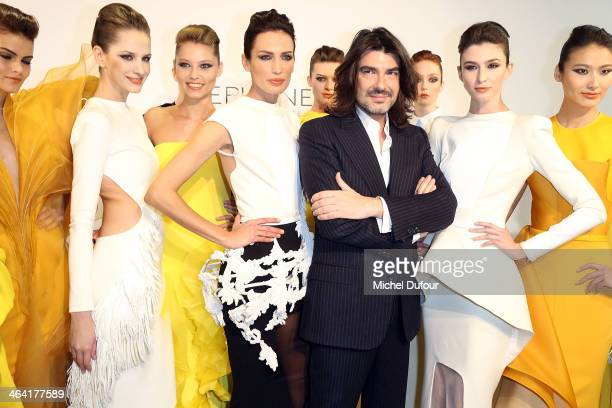 Stephane Rolland and Models attend the Stephane Rolland show as part of Paris Fashion Week Haute Couture Spring/Summer 2014 on January 21 2014 in...