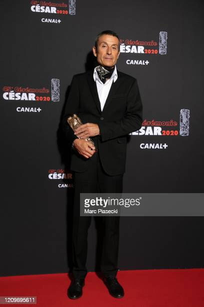 Stephane Rozenbaum poses with the Best Set award for the movie 'La Belle Epoque' during the Cesar Film Awards 2020 Ceremony At Salle Pleyel In Paris...