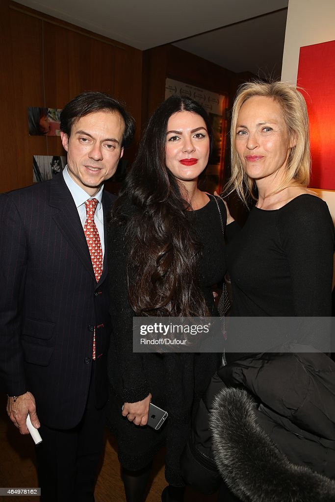 Stephane Ruffier Meray, Irada Afagi and Alexandra Vandernoot attend the 'Talking to the Trees-Retour a la Vie' Paris screening at Cinema l'Arlequin on March 2, 2015 in Paris, France.