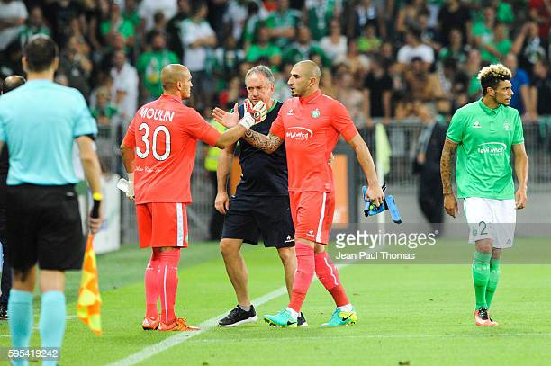 Stephane RUFFIER of Saint Etienne is leave the picth after receive a red card during the UEFA Europa League match between Saint Etienne and Beitar...