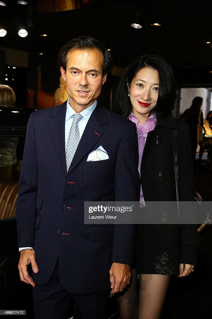 Stephane Ruffier-Meray and Loretta Lazar attend the 'Maison Fabre x DS World Paris' At The DS Flagshipstore In Paris on September 22, 2015 in Paris, France.