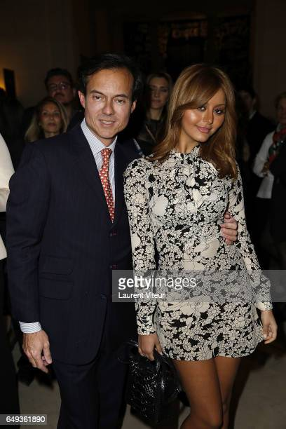 Stephane RuffierMeray and Zahia Dehar attend 'Dessiner L'Or et L'Argent Odiot Orfevre' Exhibition Launch at Musee Des Arts Decoratifs on March 7 2017...