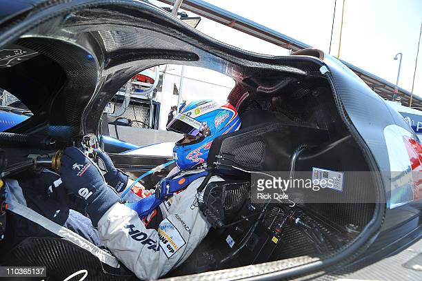 Stephane Sarrazin of France, sits in the cockpit of the Peugeot Sport Total Peugeot 908 during practice for the Intercontinental Le Mans Cup 12 Hours...
