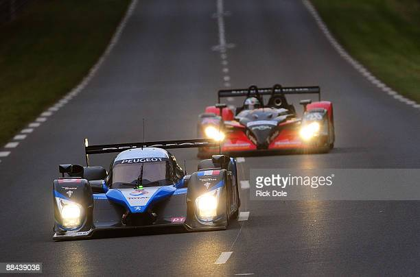 Stephane Sarrazzin driving the Team Peugeot Total Peugeot 908 during practice and qualifying for the 77th running of the Le Mans 24 Hour race at the...