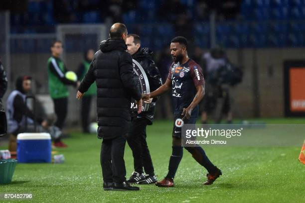 Stephane Sessegnon and Michel Der Zakarian Coach of Montpellier during the Ligue 1 match between Montpellier Herault SC and Amiens SC at Stade de la...