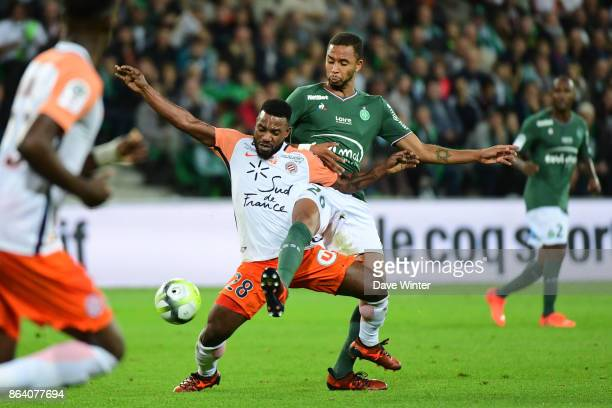 Stephane Sessegnon of Montpellier and Azevedo Junior Hernani of St Etienne during the Ligue 1 match between AS SaintEtienne and Montpellier Herault...