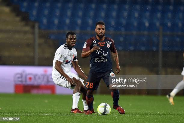 Stephane Sessegnon of Montpellier and Guy Massoma of Amiens during the Ligue 1 match between Montpellier Herault SC and Amiens SC at Stade de la...
