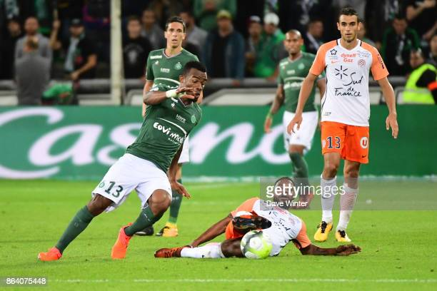 Stephane Sessegnon of Montpellier and Habib Maiga of St Etienne during the Ligue 1 match between AS SaintEtienne and Montpellier Herault SC at Stade...