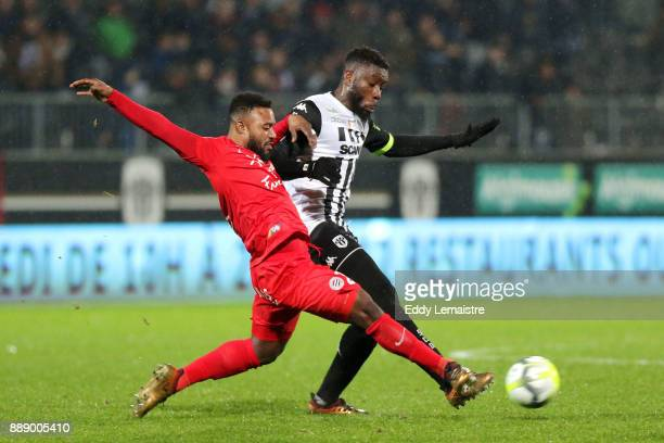 Stephane Sessegnon of Montpellier and Ismael Traore of Angers during the Ligue 1 match between Angers SCO and Montpellier Herault SC at Stade Raymond...