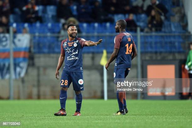 Stephane Sessegnon of Montpellier during the Ligue 1 match between Montpellier Herault SC and Stade Rennais at Stade de la Mosson on October 28 2017...