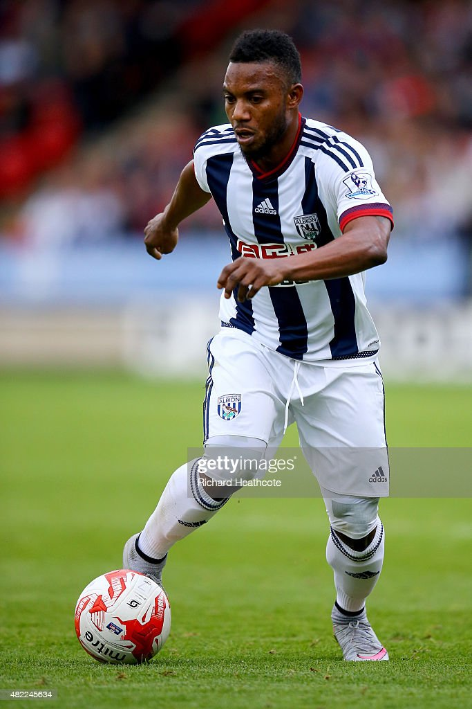 Stephane Sessegnon of West Brom in action during the Pre-Season Friendly between Walsall and West Bromwich Albion at Banks' Stadium on July 28, 2015 in Walsall, England.