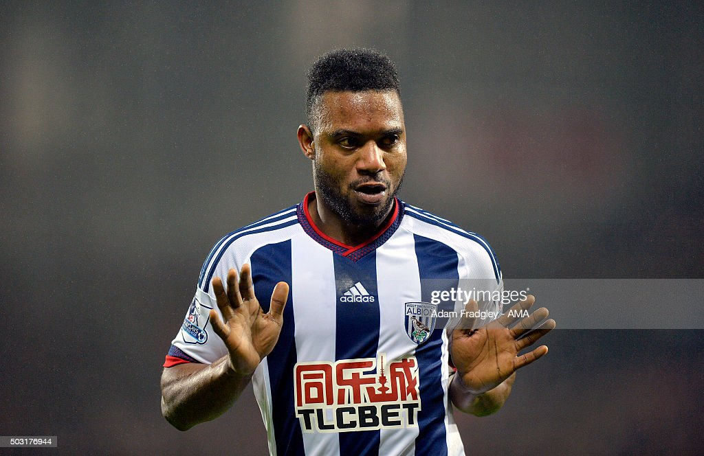 Stephane Sessegnon of West Bromwich Albion celebrates after scoring a goal to make it 1-0 during the Barclays Premier League match between West Bromwich Albion and Stoke City at The Hawthorns on January 02, 2016 in West Bromwich, England.