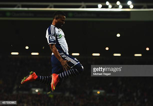 Stephane Sessegnon of West Bromwich Albion celebrates as he scores their first goal during the Barclays Premier League match between West Bromwich...