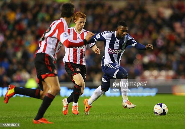 Stephane Sessegnon of West Bromwich Albion evades Jack Colback of Sunderland during the Barclays Premier League match between Sunderland and West...