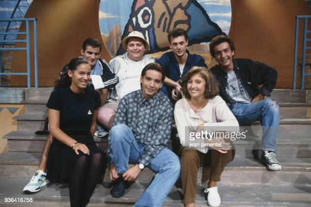 Stephane Tapie host of the french tv show y a pas de Lézard and his crew members Elisa Tovati Olivier Brocheriou Paris 17th September 1991