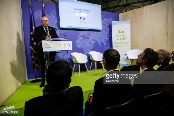 Stephane Travert French Minister of Agriculture and Alimentation at the COP23 Fiji conference in Bonn Germany on the 16th of November 2017 COP23 is...