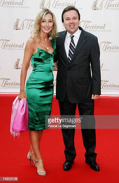 Stephane Valeri President of Monaco National Council and unidentified guest attend the opening night of the 2007 Monte Carlo Television Festival held...
