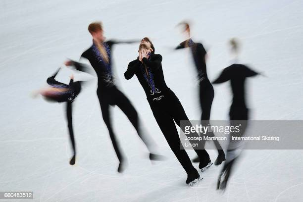 Stephane Walker of Switzerland competes in the Men's Short Program during day two of the World Figure Skating Championships at Hartwall Arena on...