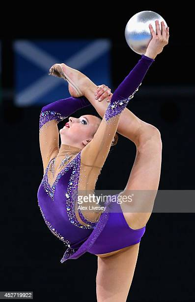 Stephani Sherlock of England competes during the Rhythmic Gymnastics Individual Ball Final at SECC Precinct on day three of the Glasgow 2014...
