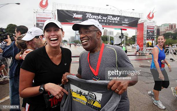 Stephanie Abrams and Al Roker take part in the XSport Fitness Rock 'n' Roll Half Marathon to benefit the American Cancer Society at Grant Park on...