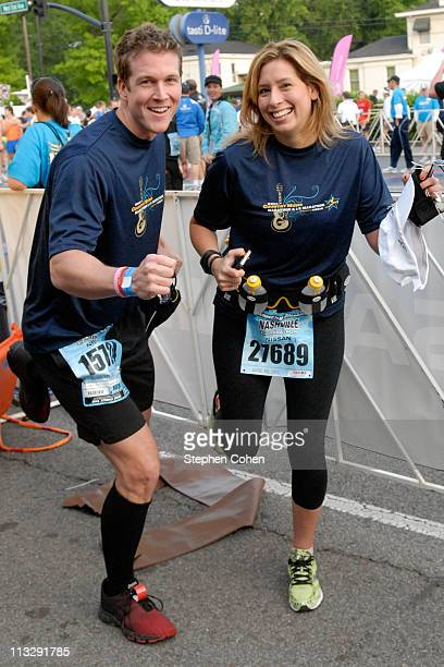 Stephanie Abrams and Marcus Lehman attends The Country Music Marathon 1/2 Marathon presented by Nissan at Centennial Park on April 30 2011 in...