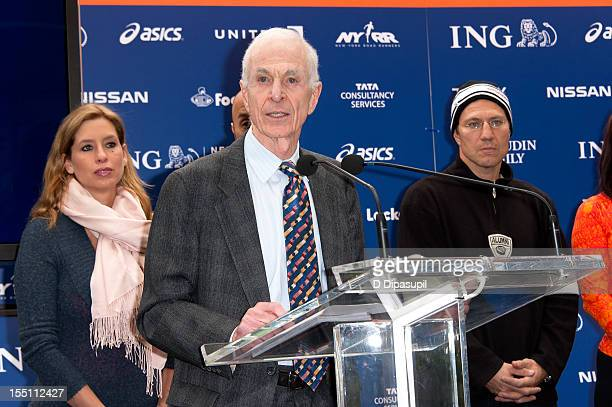 Stephanie Abrams and Nick Kypreos look on as New York Road Runners chairman George Hirsch speaks at the 2012 ING New York City Marathon Celebrity...