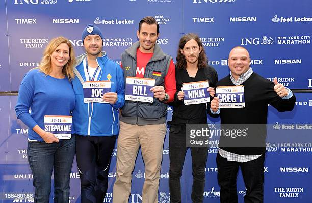 Stephanie Abrams Joe Bastianich Bill Rancic Fredrik Nomark and Greg T attend the 2013 ING NYC Marathon press conference at ING New York City Marathon...