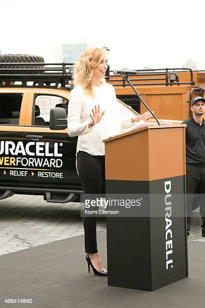 Stephanie Abrams joins Duracell on the National Day of Action in announcing disaster relief expansion programam in Battery Park on September 30 2014...