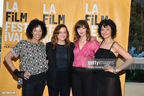 "Stephanie Allain, Amy Poehler, Amber Tamblyn and Alia Shawkat attend the 2016 Los Angeles Film Festival - ""Paint It Black"" premiere at LACMA on June..."