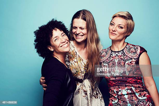 Stephanie Allain Marianna Palka and Lucy Walker pose for a portrait at the 2015 Film Independent Spirit Awards Nominee Brunch at BOA Steakhouse on...