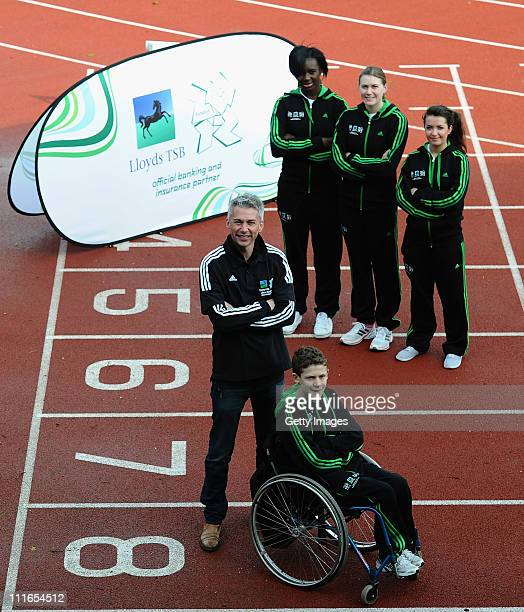 Stephanie Allen Vikki Hubbard Josceline Beaumont and Michael Murphy pose for pictures with Olympic Gold Medallist London 2012 ambassador Jonathan...